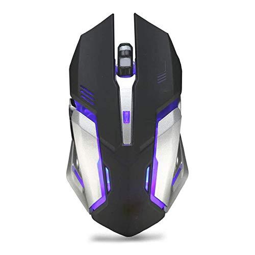 STBAAS Mouse inalámbrico, Carga silenciosa de iluminación con el ratón del Juego del Juego LED ratón óptico, 4 dpi Nivel de Ajuste, Ordenador portátil, PC, 6 Botones (Color : B)