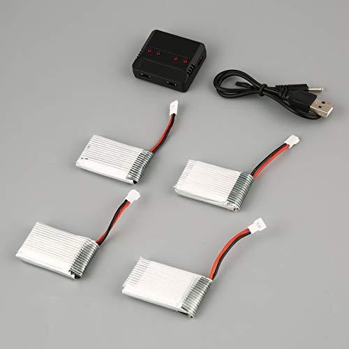 Ballylelly Verbessertes Standard-Ladegerät für Lipo-Akkusätze + 4 Stück 3.7V 850mAh Akku für Syma X5C X5C X5SC X5SW Drone Toys