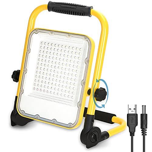 Aigostar Foco LED Bateria 100W,Foco LED Recargable Portátil ,Luz de Trabajo,Impermeable IP65,Función SOS,Uso para Interior y exterior:Garaje,Camping,reparación de coches,obra,emergencias