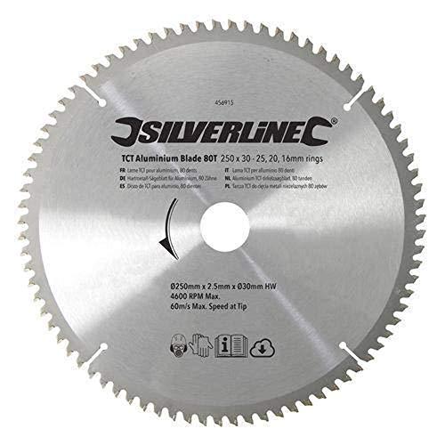 Silverline 456915 Lame TCT pour l'aluminium 80 dents 250 x 30 bagues de 25/20/16 mm