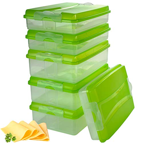 Hausfelder Aufschnittbox Set stapelbar, BPA-freie Kühlschrank Organizer Frischhaltedosen aus Kunststoff mit Deckel (6 Aufschnittboxen: 3X flach, 3X hoch)