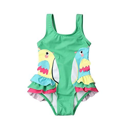 Baby Girl Ruffle Swimsuit One-Piece Bathing Suit Cute Parrot Bikini Toddler Swimwear Infant Beach Wear for Ages 0-24M (Green, 18-24 M)