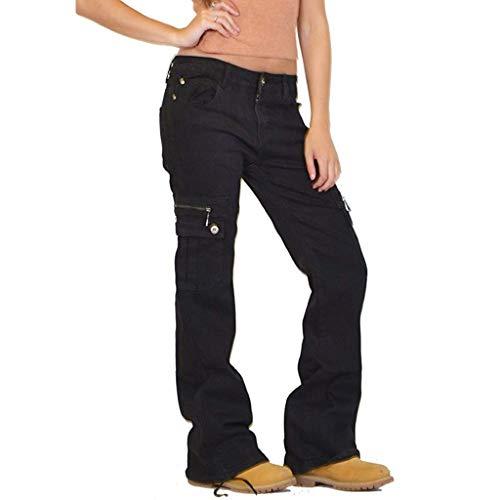 LOPILY Hose Damen Jeans Cargohosen Weites Bein Locker Bundhosen High Waist Chinohosen Freizeithosen Denim Jerseyhosen Damen Schlupfhosen Lose Casual (Schwarz, XL)