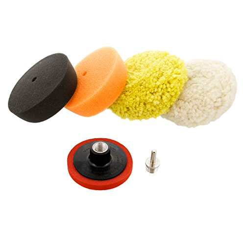 """TCP Global Brand 3"""" Mini Buffing and Polishing Pad Kit with 4 Pads, Backing Plate, and 1/4"""" Drill Adapter"""