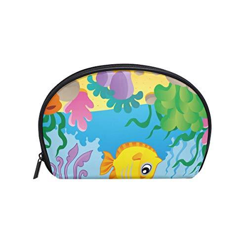 Make-upcosmeticatasje grappig karikatuur-oceaan-wereldvis-koraal met ritssluiting