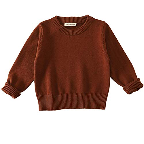 Toddle Baby Girl Clothes Lantern Balloon Sleeve Loose Pullover Sweater Knit Tops Trajes, Brown-b, 6-12 Months