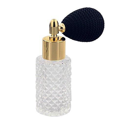 Glas-Flakon mit Kristallschliff Art, 25ml Kosmetex Parfüm-Flakon mit Ballpumpe, leer, Gold