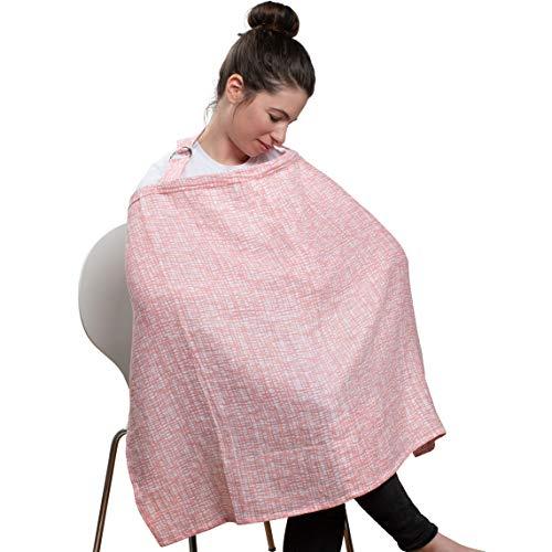 Urban Kanga Écharpe d'allaitement en Mousseline Coton avec Désossage Rigide Couverture d'Allaitement (Rose)