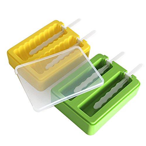 2 St¨¹ck Silikon Eislutscher Formen,Stieleisformer Set Silikon BPA Frei Eis Formen f¨¹r Kinder und Erwachsene