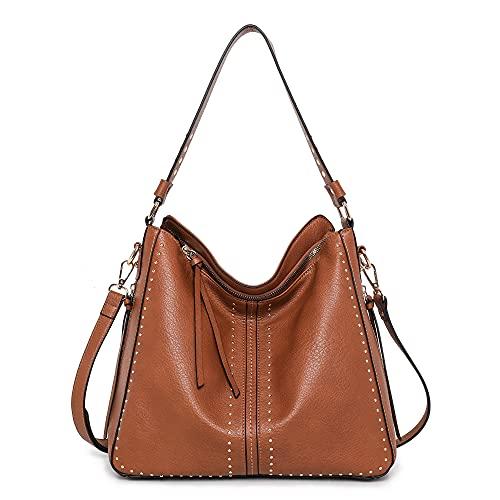 Montana West Large Hobo Handbag for Women Studded Leather Shoulder Bag Crossbody Purse With Tassel MWC-1001BR