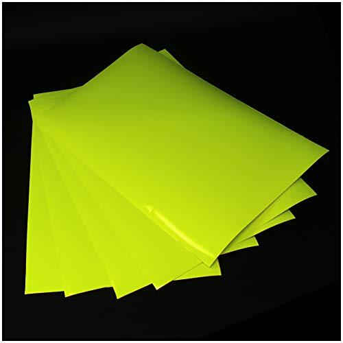 (28,80€/m²) Din A4 Bogen Bastelfolie Selbstklebend Künstlerfolie Plotterfolie Plottfolie Folie Basteln (Neon Gelb, 5er Set Din A4 Bögen)