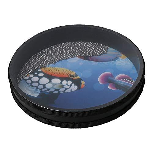 BQLZR 25,4 cm Ozeantrommel Hand Percussion Instrument Wave Bead Sea Sound Drum mit Fischmuster für