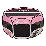 XhuangTech Soft Fabric Portable Foldable Pet Dog Cat Puppy Playpen, Indoor/Outdoor use Pet Kennel Cage 128 x 128 x 68 cm (Pink)