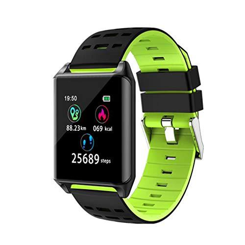 HRRH Bluetooth Smart Watch, Farbe Armband mit Herzfrequenz Blutdruck Blut Sauerstoff Messgerät Schritt Aufnahme Wettervorhersage Foto Schlaf,A