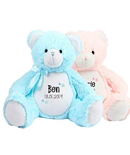 Teddy mit Namen und Geburtsdatum Kuscheltier Stofftier Teddybär personalisiert
