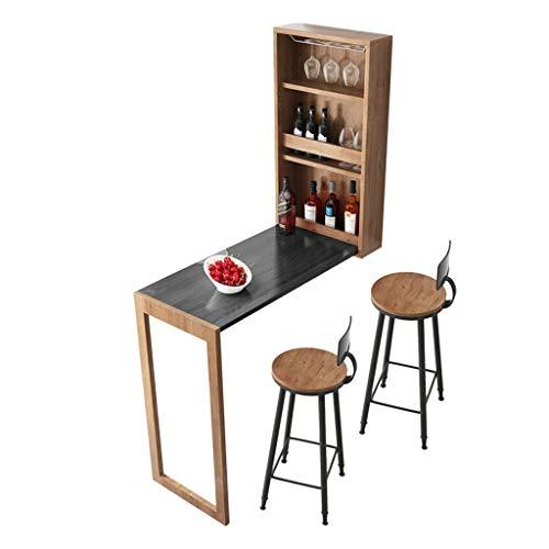 Faltbare Bartheke, Platzsparender Küchen-Esstisch, Massivholz-Wandtisch, Tischbeine Für Mehr Gleichgewicht Und Stabilität, Tragkraft Bis 200 Kg, Tisch/Wein-Kombination In Einem