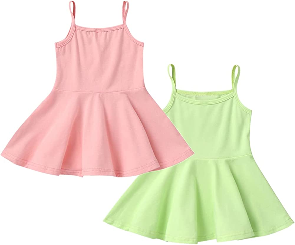 Amuhou Toddler Girls' Slip Dress Cotton Braces Skirt Playwear Dresses