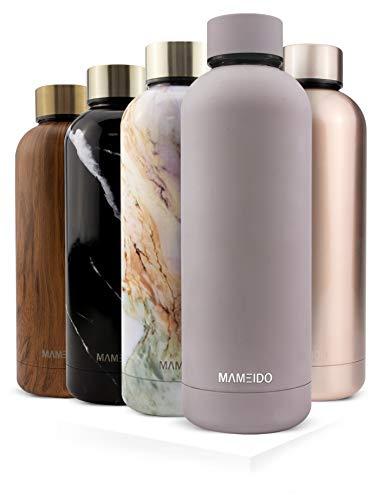 MAMEIDO Trinkflasche Edelstahl - Taupe Grau Matt - 500ml, 0,5l Thermosflasche - auslaufsicher, BPA frei - schlanke isolierte Wasserflasche,leichtedoppelwandige Isolierflasche