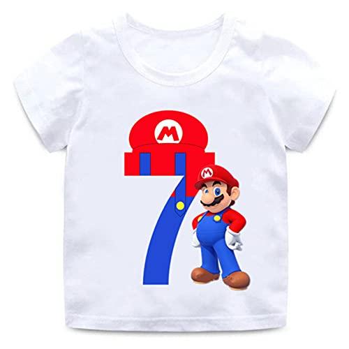 Cartoon Super Mario Número 1-9 Impresión de Letras Niños Niñas Camiseta Feliz cumpleaños Regalo Ropa Unisex Manga Corta Tshirt Verano