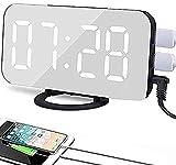 HUIQ Mirror Alarm Clock Snooze USB Powered Digital Clock LED Display AdjustableBrightness Clocks Bedside Mobile Power Bank For Workday Traval Study