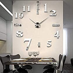 3D Frameless DIY Wall Clock, YINAS Large Silver Creative Design Mirror Surface Wall Clock Stickers DIY Wall Decoration for Living Room Bedroom Home Office School Gifts
