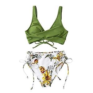 CUPSHE Women's Bikini Swimsuit Floral Print Lace Up Two Piece Bathing Suit