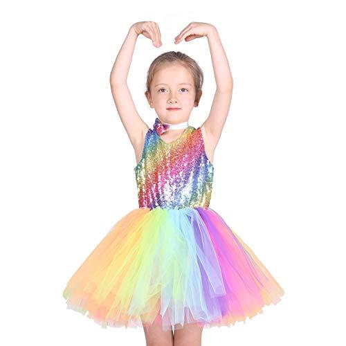 Familus Unicorn Girls Rainbow Tutu Dress Handmade Sequin Dress with Bow Knot Backless Dress 5-6T