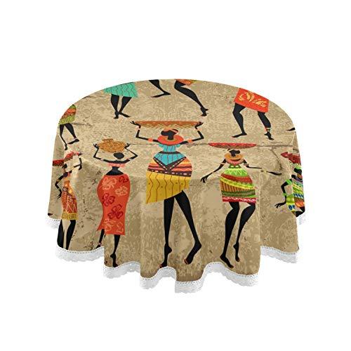 RELEESSS Tovaglia rotonda vintage africana donna tovaglia circolare 152 cm tovaglia per cucina, cena, giardino, bar, feste, matrimoni, decorazione da tavolo per interni ed esterni