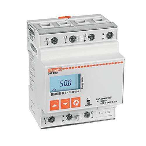 Contador de energía trifásico, con neutro y entrada directa 80A 400VAC, 7,1 x 6 x 15,3 centímetros, color blanco (Referencia: DMED301)