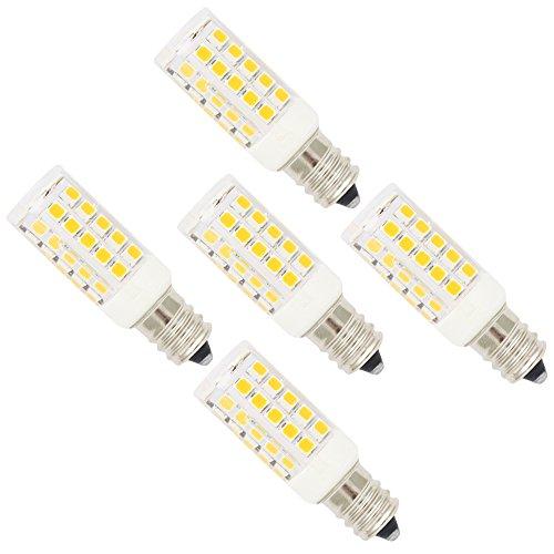 5X E12 Bombillas LED 5W Lámpara LED 44 SMD 2835LEDs Blanco Cálido 3000K Super Brillante 350LM Iluminación Bombillas AC220-240V