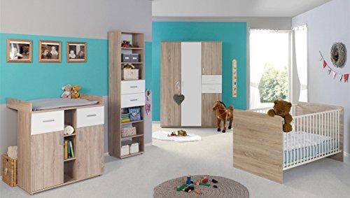 Babyzimmer / Kinderzimmer komplett Set ELISA 4 in Eiche Sonoma Weiß, Komplettset mit grossem 3-türigen Kleiderschrank Babybett Lattenrost Wickelkommode Wickelaufsatz Standregal, Made in Germany