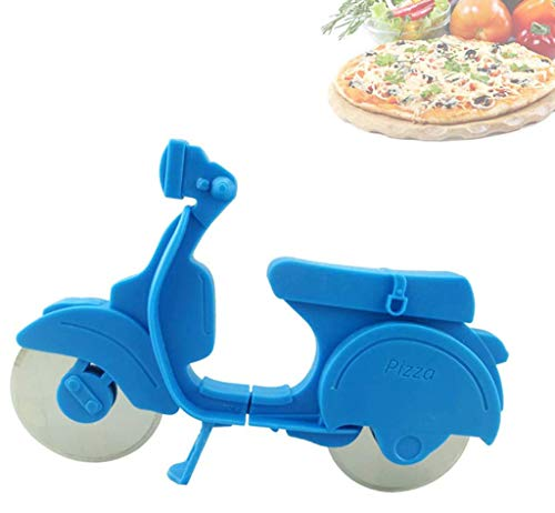 Creative Bicycle Pizza Cutter, Bike Pizza Knife Slice Stainless Steel Non-Stick Cutting Wheels Easy To Clean for Cool Kitchen Gadget,Blue