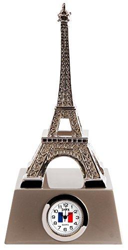 Miniaturuhr, Miniatur Uhr - Eiffelturm Paris, Sammleruhr in der Höhe 13 cm