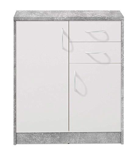 Kommode Highboard Mehrzweckschrank | Dekor | Betonoptik | Weiß | 2 Türen | 2 Schubladen