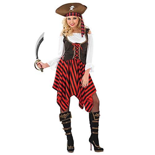 Fun Shack Rotes Piraten Kostüm für Damen, Piratenbraut Verkleidung - M