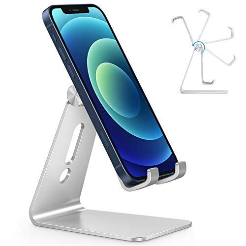 Adjustable Cell Phone Stand, OMOTON Aluminum Desktop Cellphone Stand Compatible with Phone 11 Pro, XR, 8 Plus 7 6, Samsung Galaxy, Google Pixel, Silver