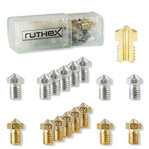 ruthex 3D Drucker Düsen/Nozzle V6 Set (16 Stück) - 8x Messingdüsen 8x Edelstahldüsen - 1,75 Filament - für 3D-Drucker z. B. Anycubic i3 Mega - Chiron - Prusa i3