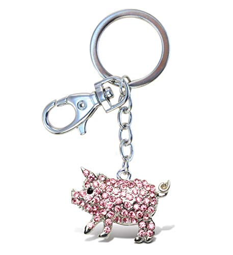 Aqua79 Pink Pig Keychain - Silver 3D Sparkling Charm Rhinestones Fashionable Stylish Metal Alloy Durable Key Ring Bling Crystal Jewelry Accessory With Clasp For Keychain Bag, Purse, Backpack, Handbag