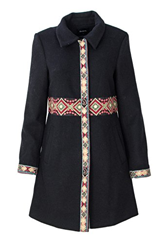 Desigual Femmes Manteau Abrig Elisabeth 18WWEWAS 44 (XL) Noir