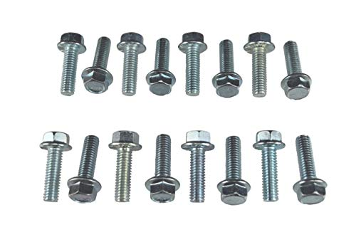 ICT Billet BBC Intake Manifold Bolt Kit 16 Piece Bolt Set Compatible with Big Block Chevy 396 402 409 427 454 502 V8 Eight Cylinder Carburetor Chevrolet 3/8-16 Standard Thread 551664
