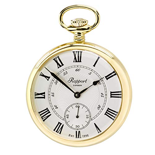 Vintage Pocket Watch with Chain by Rapport - Classic Oxford Open Face Pocket Watch with Sub-Seconds - Gold