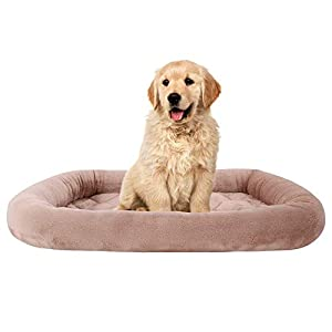 EMME Dog Bed Pad Crate Mats for Dog & Cat Luxury Flannel All Season Plush Pet Bed Pet Mattress (Brown, Medium)