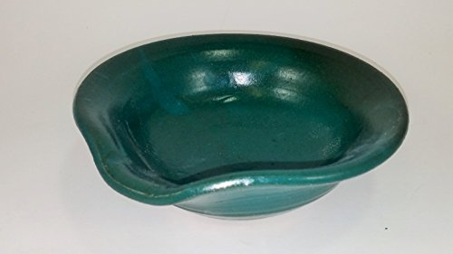 Aunt Chris' Pottery - Made of Clay - Spoon Rest - With Built-in Handle Lip and Pour Spout- Primitive Style Hunter Green Color Glazed