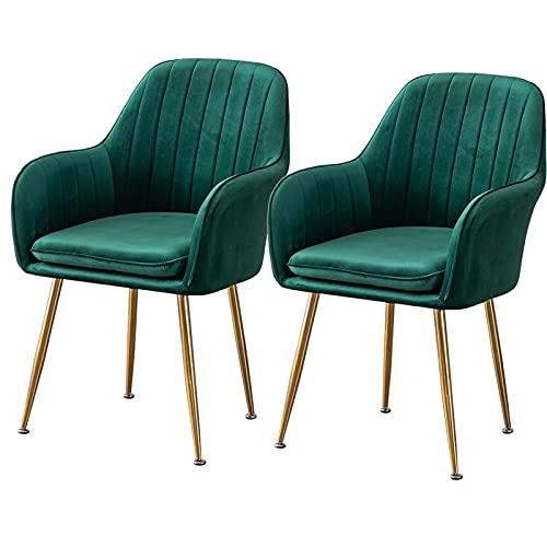 ADGEAAB Juego de 2 sillas de comedor de terciopelo suave con patas de metal, asiento de terciopelo y respaldos para sala de estar, dormitorio, cocina (color verde oscuro)
