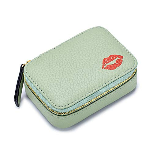 Bolso cosmético Chica Bolso de lápiz Labial Cuero Mujer Espejo Mujer Estuche Pequeño Mini Bolso de maquillaje10 * 7 * 3.5cm-Mint_Green_10 * 7 * 3.5cm
