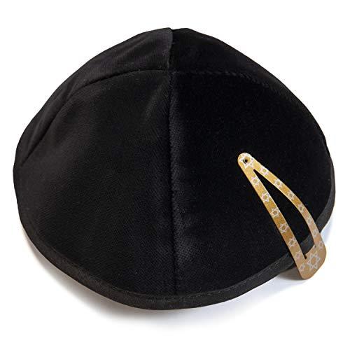 JL Kippha's Kippa 21 cm Größe jüdischen Samt Kipa Schwarz Yarmulke Head Cover