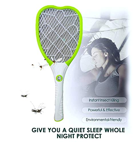 PaxMore Rechargeable Electric Fly Swatter USB with Charging, LED Lights Zap in The Dark, Safe Touch Hanheld Mosquito Killer Bug Zapper Racket with Stand for Indoor, Outdoor, Home
