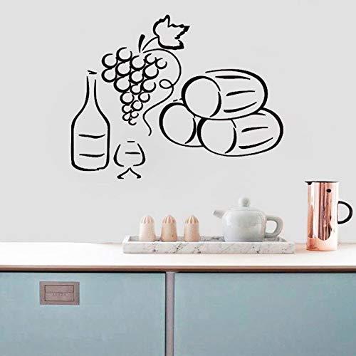 Uvas una botella de vino y pegatinas de pared de vidrio de cocina decoración del hogar calcomanía de pared removible impermeable arte A3 42x66cm