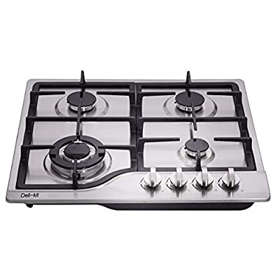 Deli-kit 24 inch LPG/NG gas cooktop Dual Fuel Sealed 4 Burners Stainless Steel Gas Cooktop 4 Burners Drop-In Gas Hob DK245-A02 Gas Cooker