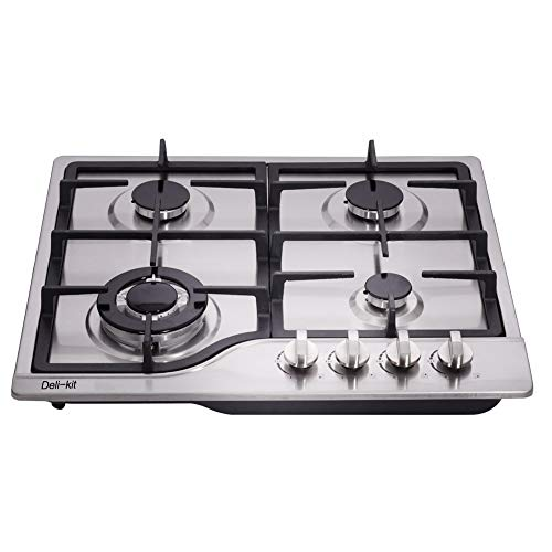 Deli-kit DK245-A02 24 inch LPG/NG gas cooktop gas hob stovetop 4 Burners Dual Fuel 4 Sealed Burners...
